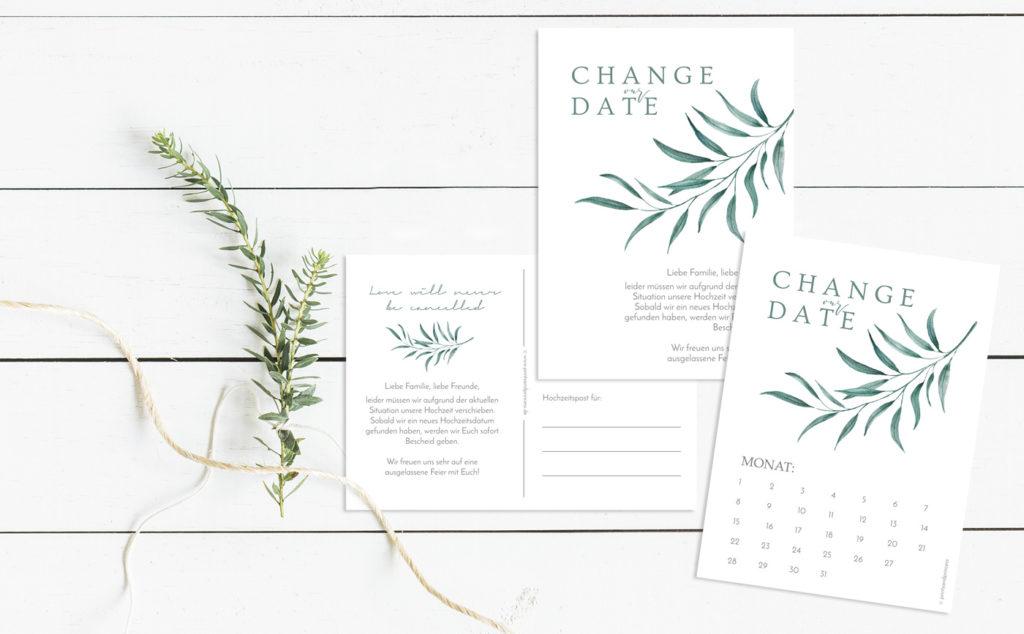 Kostenlose Change the Date Karten für eure Hochzeit zum selbst Ausdrucken