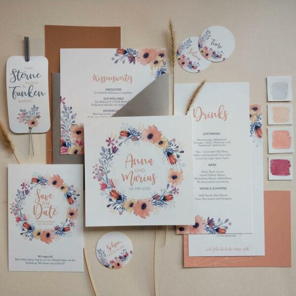 Hochzeitspapeterie und Hochzeitseinladungen