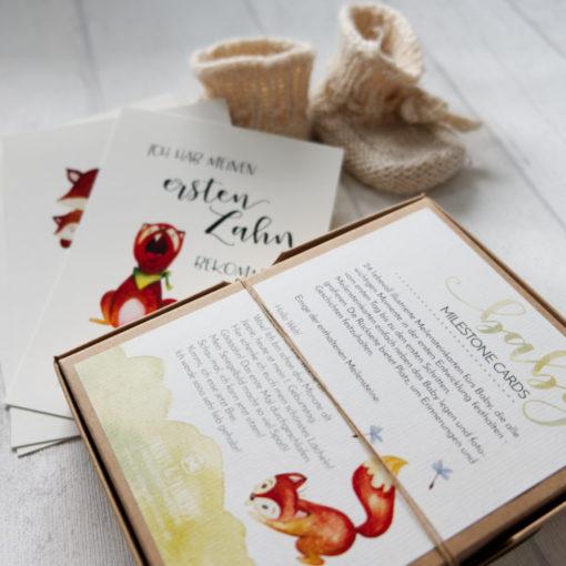 meilensteinkarten cute fox schwangerschaft geburt baby