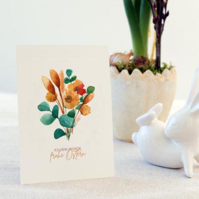 Trockenblumen, Osterkarte, Grußkarte, Ostern, Feiertage