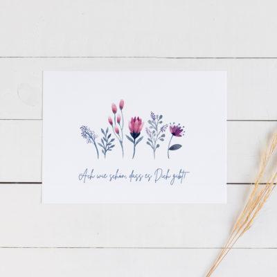 Besondere Postkarte mit Aquarellblumen
