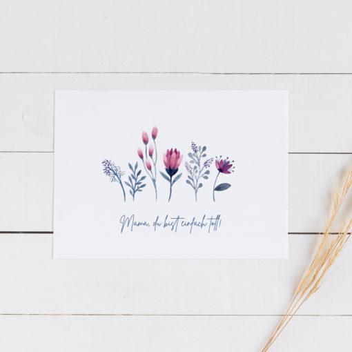 Postkarte-Mama-du-bist-einfach-toll-Auquarellblumen
