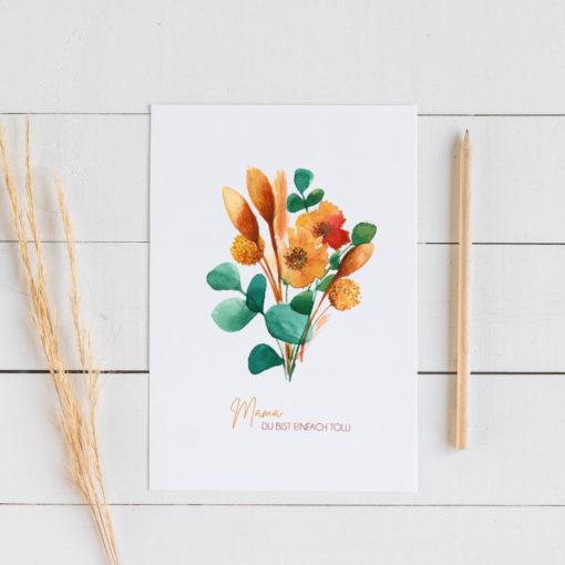 Muttertag, Mutter, Geschenk, Grußkarte, Trockenblumen