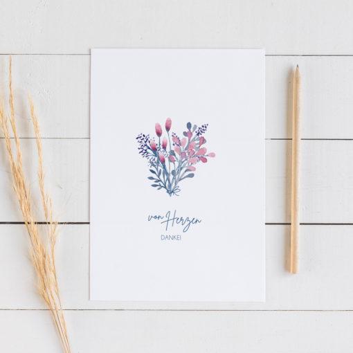 Postkarte-Von-Herzen-Danke-lila Blumen Muttertag