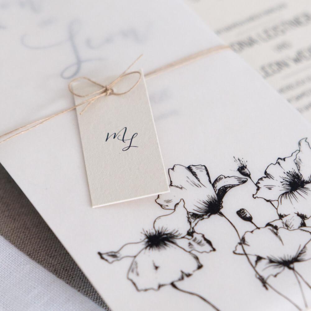 botanical Hochzeitseinladung greenery scandi
