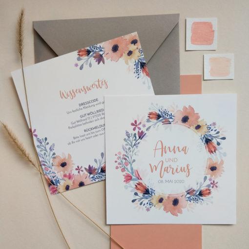 boho hochzeit infokarte floral