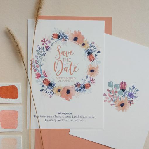 boho-save-the-date Karte, floral, verspielt, romantisch